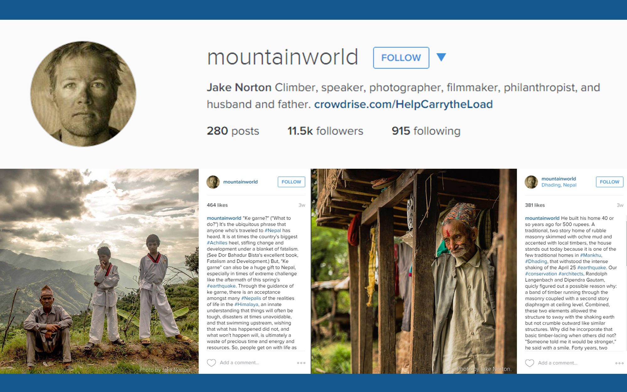 Instagram account illustration for Mountain World