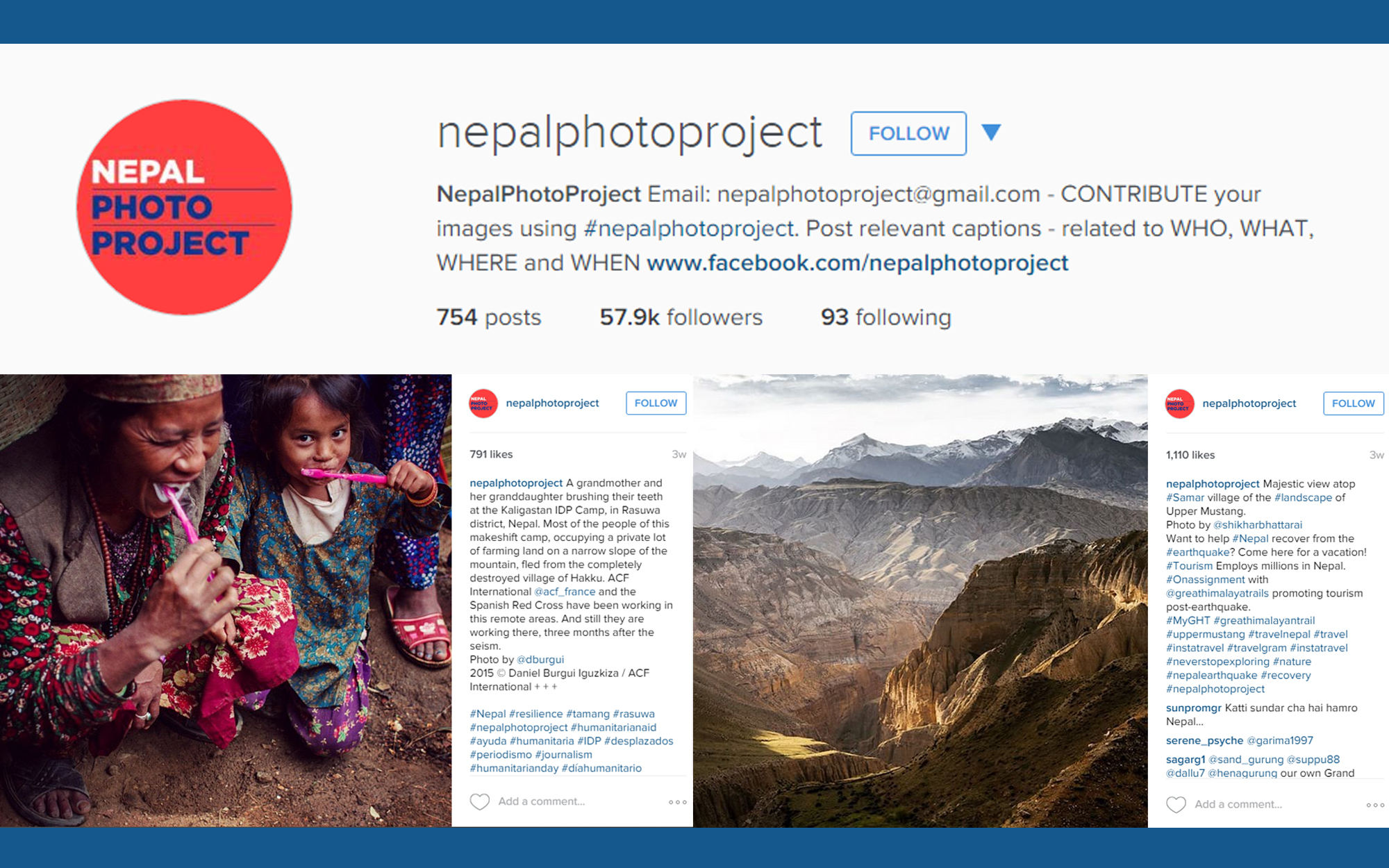 Instagram account illustration for Nepal Photo Project