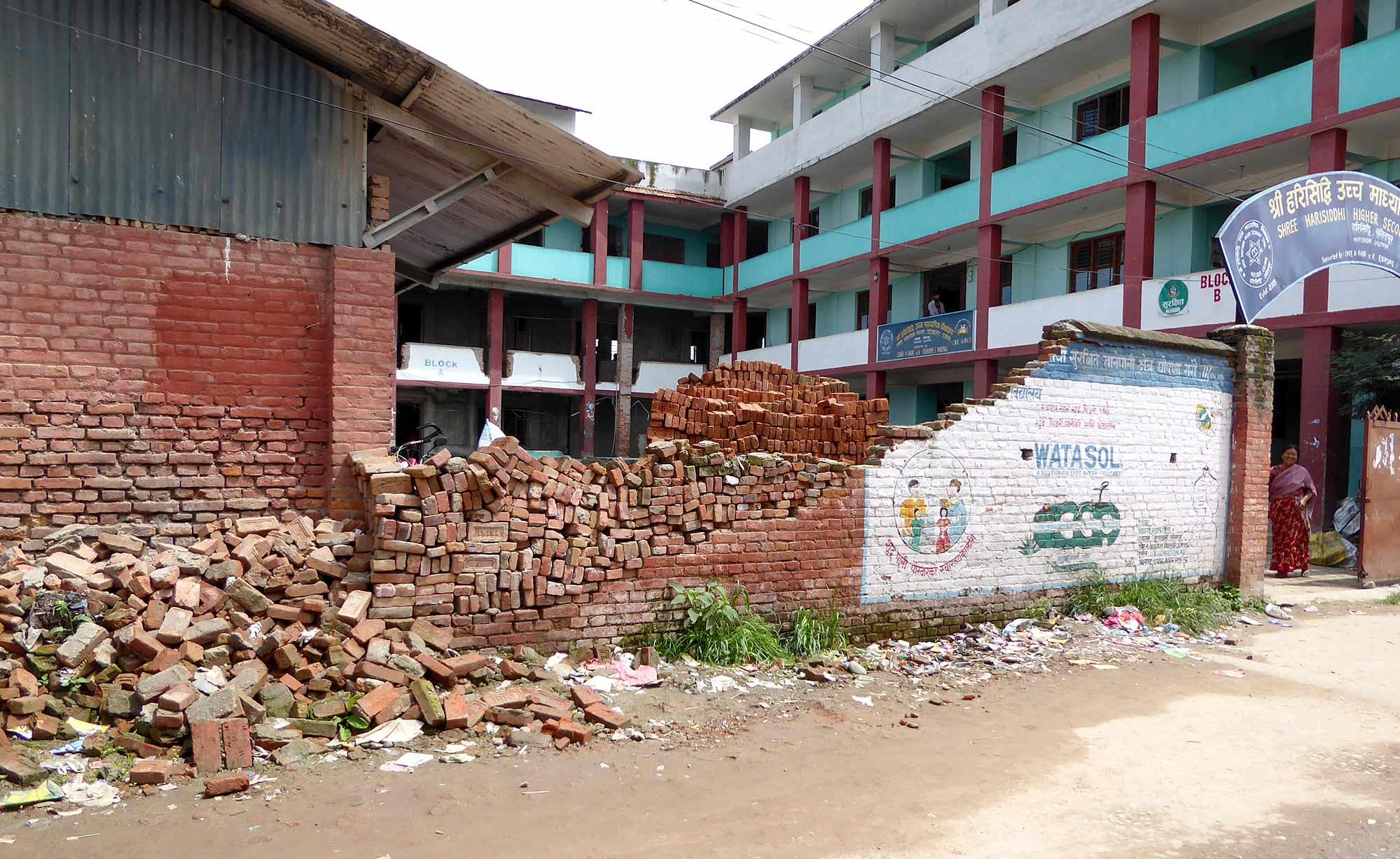 An earthquake damaged school in Harisiddhi