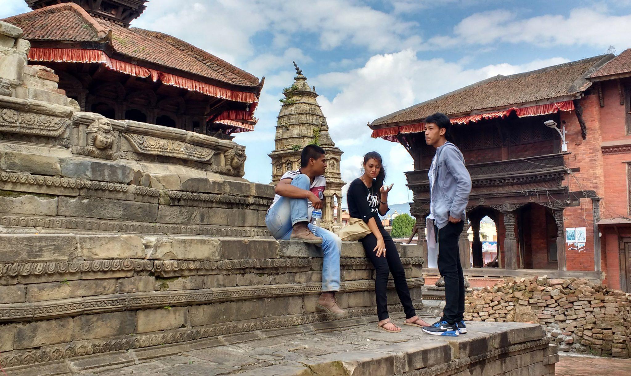Locals relax in Bhaktapur Durbar Square
