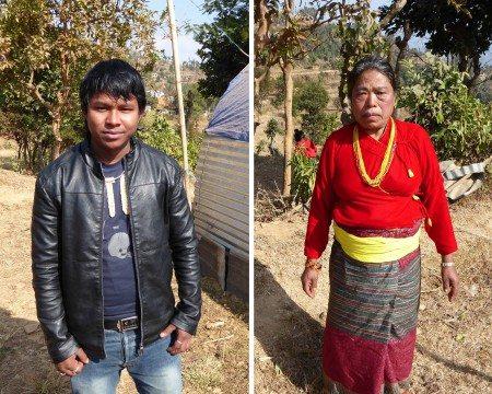 Himal Sagar Hingmang (left), one of the musicians, and Bishnu Maya Ranamagar, on whose land the church stands.
