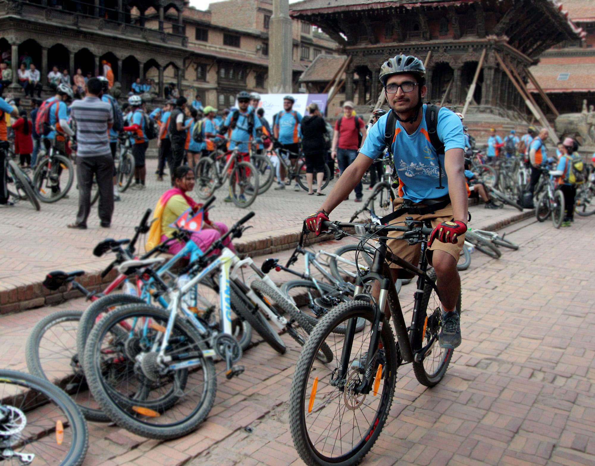 Cyclist Suraj Silwal, Patan Durbar Square, Kathmandu