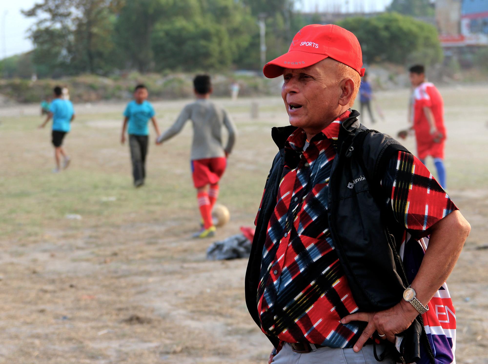 Football coach P.D. Tiwari, Tudikhel, Kathmandu