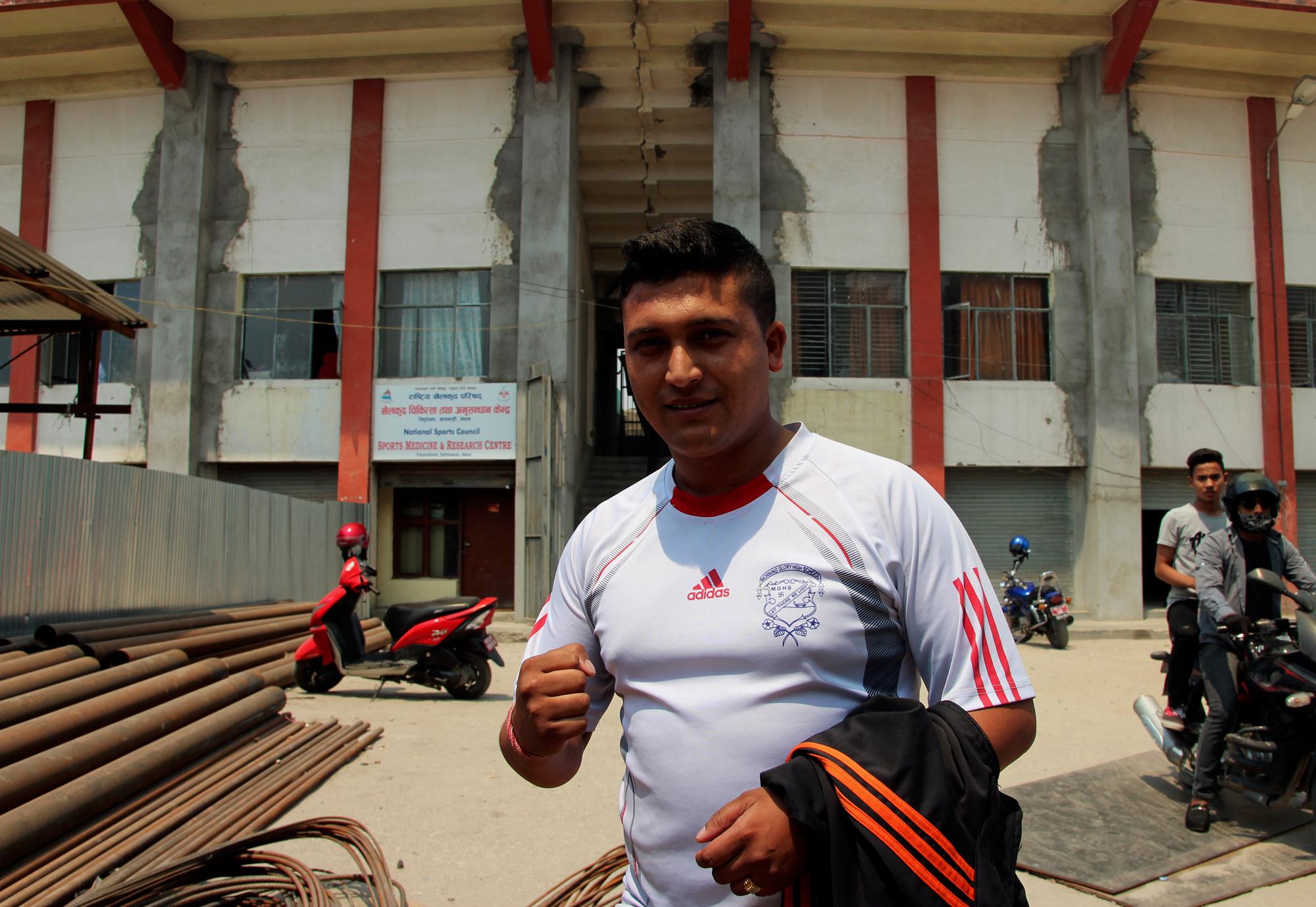 Taekwondo fighter Tej Bohara, Dasarath Rangasala Stadium, Kathmandu